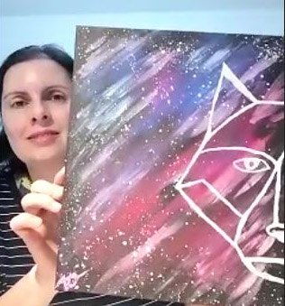 Galaxie Fuchs gemaltes Acrylbild