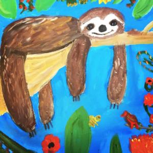 Faultier malen mit Kindern
