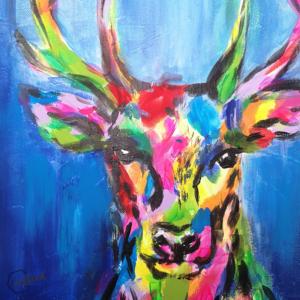 Hirsch im Pop Art Stil mit Acryl auf Leinwand