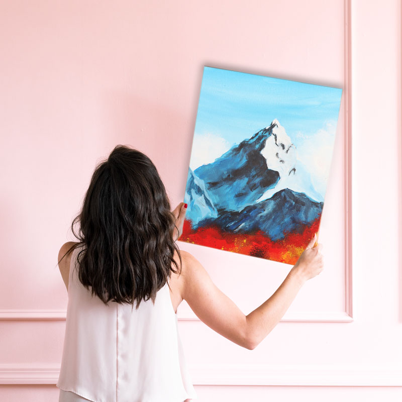 Berge malen Bild aufhängen